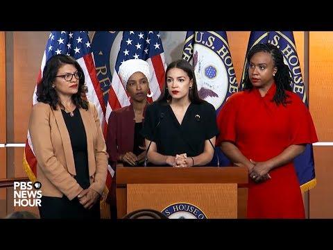 Trump Racist Tweet Congresswomen Ocasio-Cortez Tlaib Omar Pressley