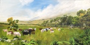 """6'0"""" x 3'0"""": Oil on Canvas - Cattle in Bandipur"""