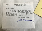 For sale: Mother Teresa auograph $650.00