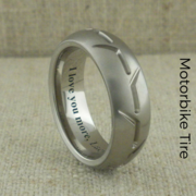 Titanium Wedding Ring with Motorbike Tire
