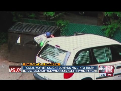 Postal worker caught dumping mail into trash