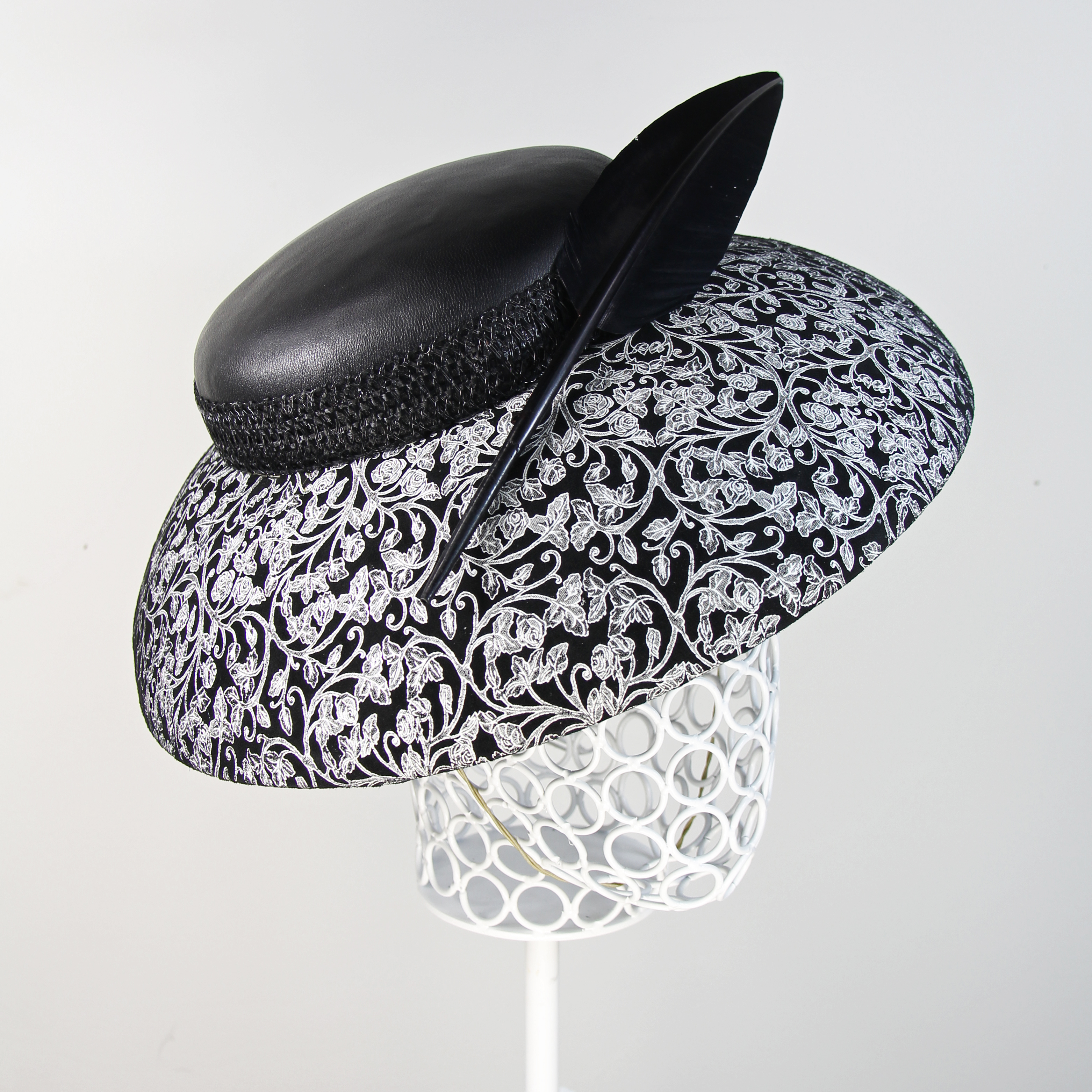 All leather black and white Audrey hat