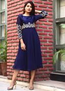 Shop Designer Patterns in Blue Kurtis Online At Mirraw
