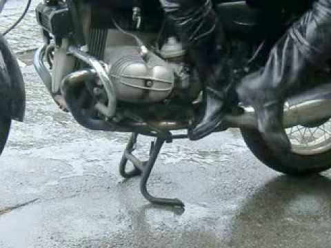 Wet rubber boots on my motorbike