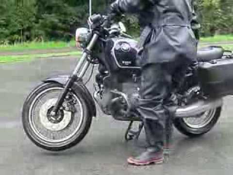 Belstaff Black Prince and BTR Silver King Rubber Boots on my Motorbike