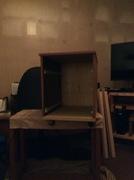 Reused pressboard for filing cabinet.