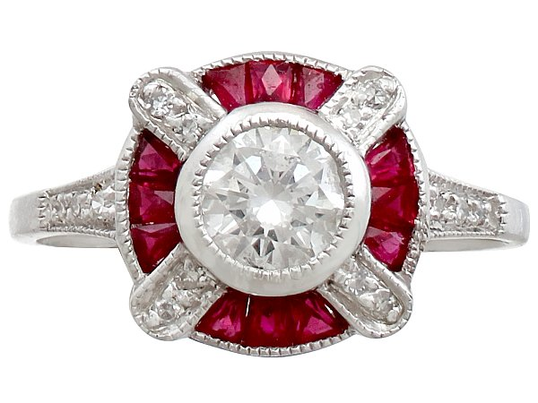 0.75 ct Diamond and 0.34 ct Ruby, Platinum Dress Ring - Art Deco - Vintage Circa 1940