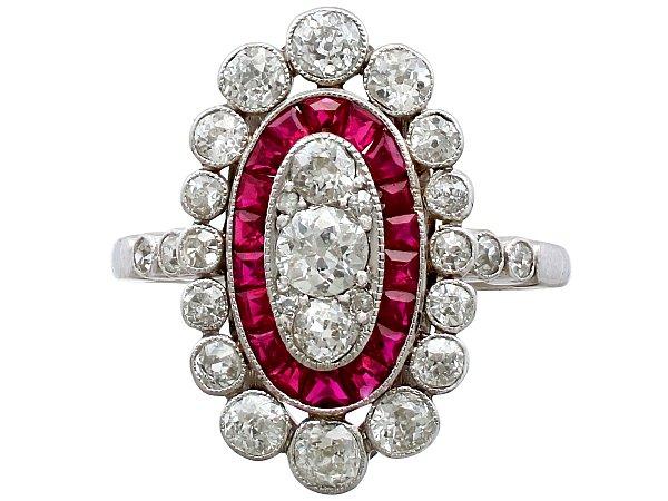 1.60ct Diamond and 0.60ct Ruby, Platinum Cluster Ring - Antique Circa 1910