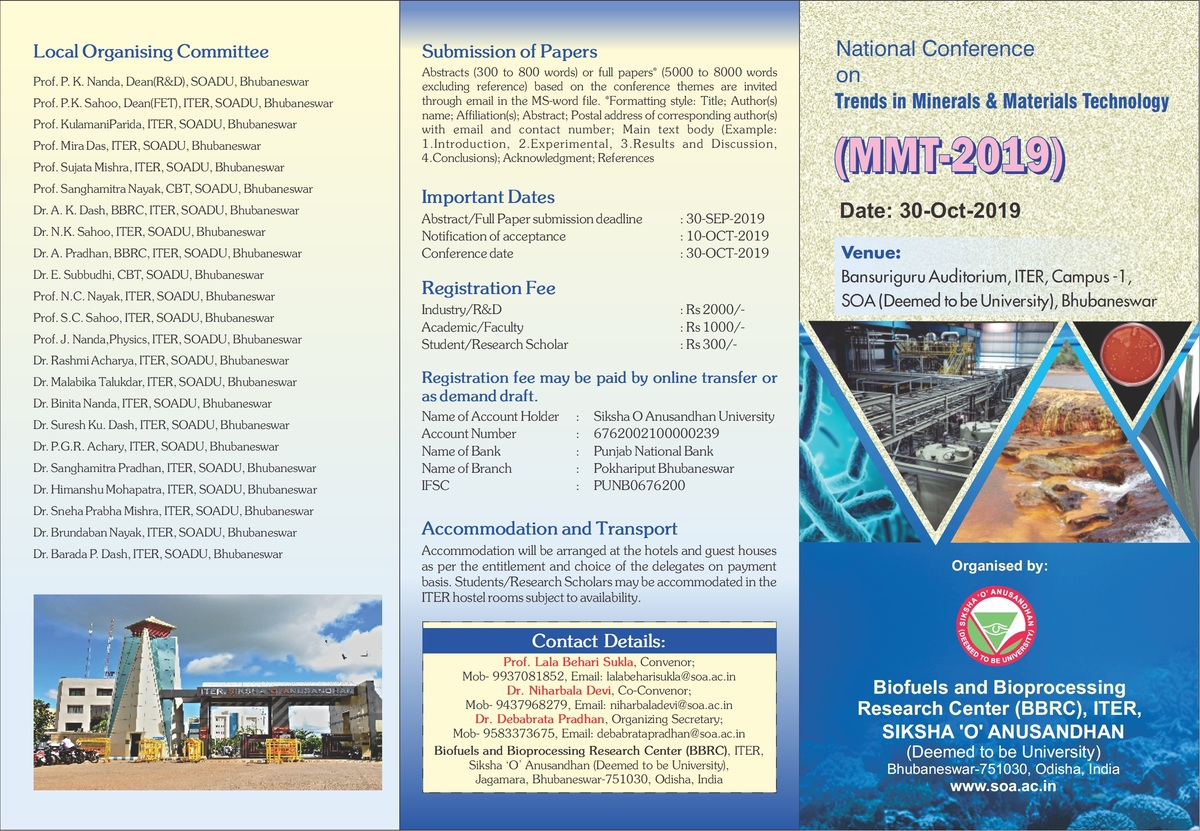 "National Conference on ""Trends in Minerals & Materials Technology (MMT-2019)"""