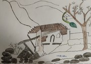 hut with tree