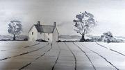 Monochrome farmhouse - watercolour