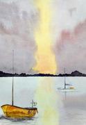 Waterside sunset - watercolour