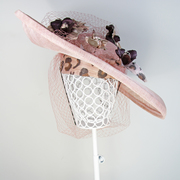 Dusty pink sinamay hat