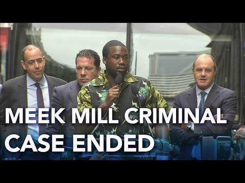 Meek Mill speaks outside of the federal court in Philadelphia after accepting plea