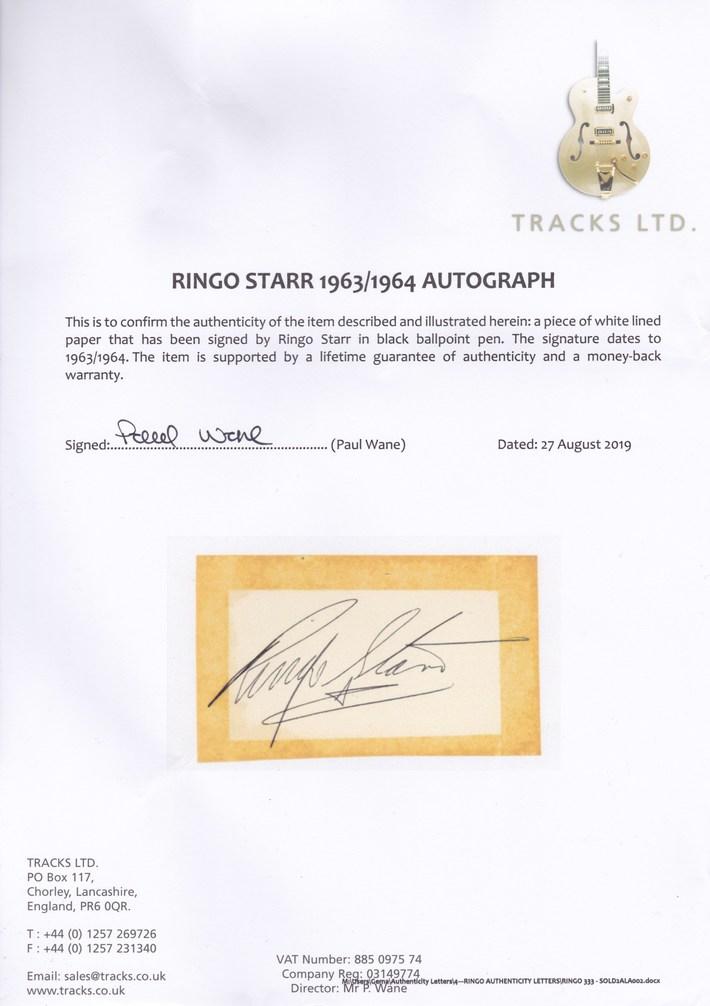 Tracks UK COA For Ringo Starr Autograph 1963/4