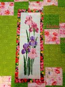 Quilt #158 - Garden Window cross stitch on linen on back