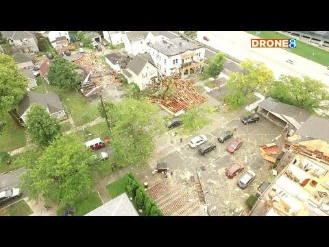 Drone  flies above Grand Rapids Michigan  storm damage