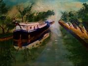 chaland sur le canal de Willebroeck Anderlecht huile 60-50  de Sylviane Joséphine TIREZ