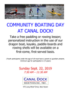 Community Boating Day at Canal Dock