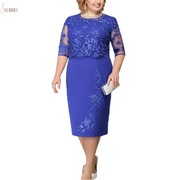 Lace-Plus-Size-Mother-Of-The-Bride-Dresses-2019-Scoop-Neck-Hal-Sleeve-Patchwork-Wedding-Guest_0