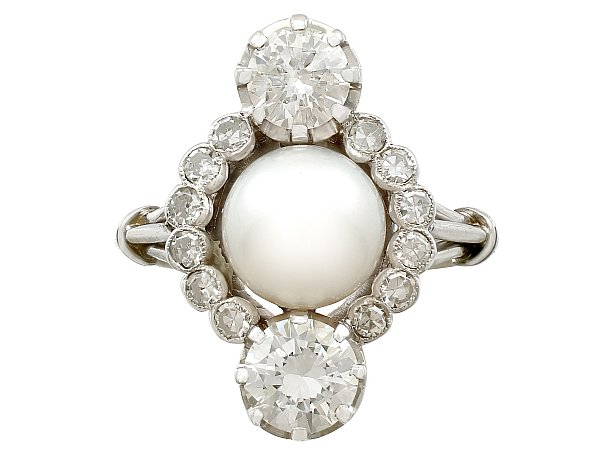 1.59ct Diamond and Pearl, 18ct White Gold Dress Ring - Antique Circa 1930