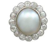 Mabe Pearl and 1.90 ct Diamond, Platinum Cluster Ring - Antique Circa 1930