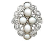 Pearl and 1.73 ct Diamond Dress Ring in 18 ct White Gold - Antique Circa 1900