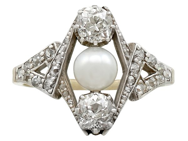 1.15 ct Diamond and Pearl, 18 ct Yellow Gold Dress Ring - Antique Circa 1900