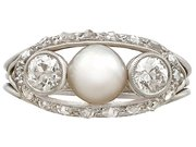 Pearl and 0.78 ct Diamond, 14 ct White Gold Dress Ring - Antique Circa 1920