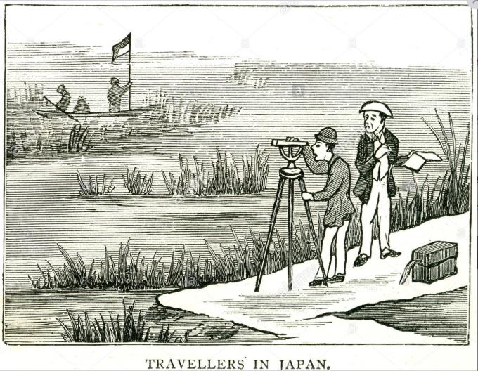 Travellers Japan Surveying boat map making bog water river bank