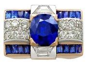 3.72ct Sapphire and 1.20ct Diamond, 18ct Rose Gold Dress Ring - Art Deco - Vintage Circa 1940