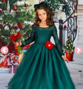 Girls Long Lace Sleeve Maxi Dress with Flower Clip