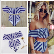 Women's High Waist Off the Shoulder Vintage Swimsuit