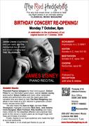 James Lisney piano recital MONDAY 7 OCTOBER, 8PM at The Red Hedgehog, Highgate, 2 mins tube
