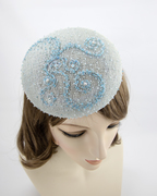 Blue Beaded Cocktail Hat