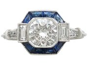 1.24 ct Diamond and 0.52 ct Sapphire, Platinum Engagement Ring - Contemporary and Vintage