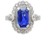 3.29 ct Ceylon Sapphire and 0.82 ct Diamond, 18 ct White Gold and Platinum Dress Ring - Vintage Circa 1950