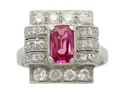 1.45 ct Pink Sapphire and 0.96 ct Diamond, 18 ct White Gold and Platinum Dress Ring - Art Deco Style - Vintage Circa 1950