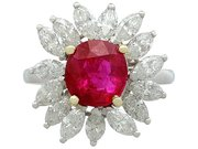 2.30 ct Ruby and 1.65 ct Diamond, Platinum Cluster Ring - Vintage French Circa 1960