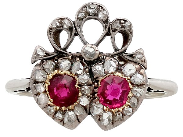 0.60 ct Ruby and 0.60 ct Diamond, 18 ct White Gold Dress Ring - Antique Victorian
