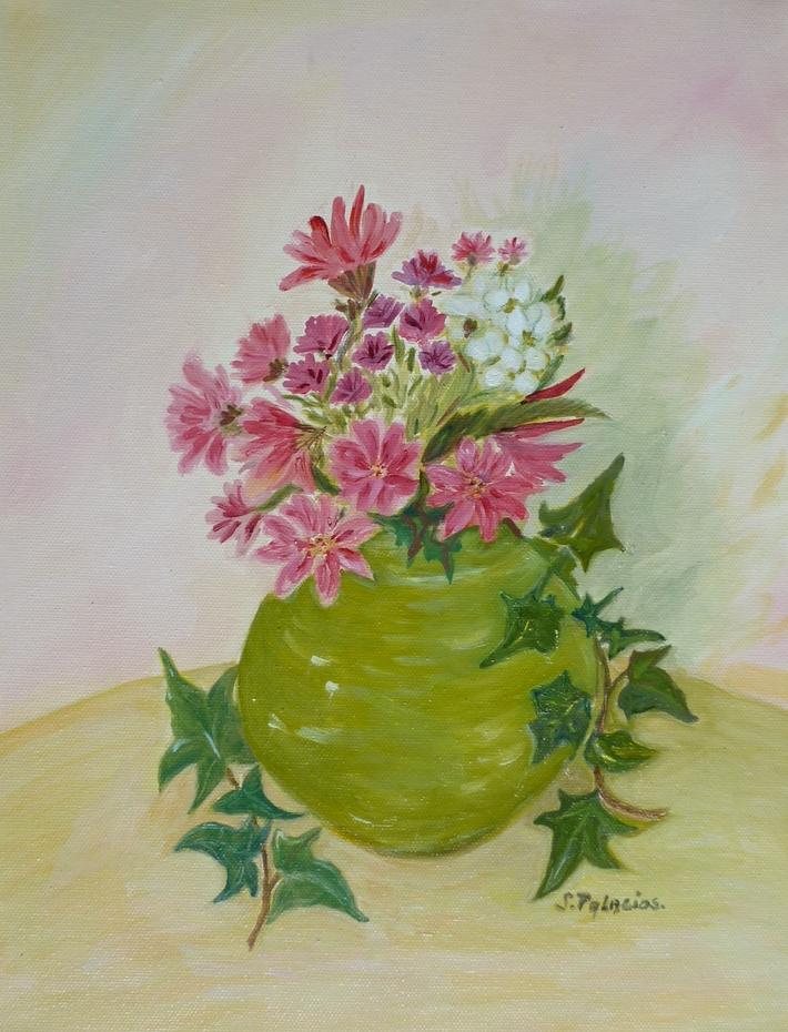 Bouquet de fleurs aux branches de lierre