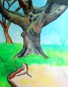 Dog Park Tree mixed media on canvas RLO oct 2019 - copia