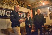 L to R John Evans, Sally Willett and Nigel
