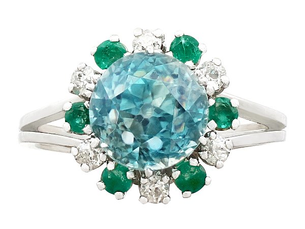 5.35ct Zircon and 0.25ct Diamond, 0.24ct Emerald and 18ct White Gold Dress Ring - Vintage French Circa 1940