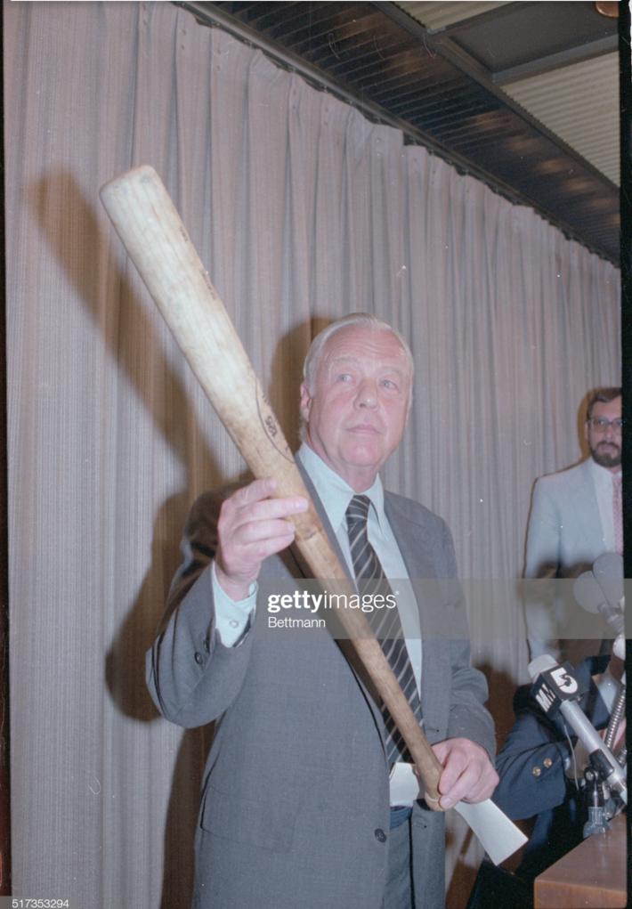 McPhail holding George Brett pine tar bat!
