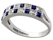 0.30ct Sapphire and 0.27ct Diamond, 18ct White Gold Dress Ring - Vintage 1966