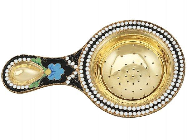 Russian Silver Gilt and Polychrome Cloisonne Enamel Tea Strainer - Vintage Circa 1970