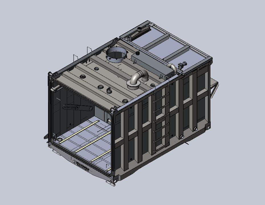 3D Solid Model of Automated Water Blast Tank