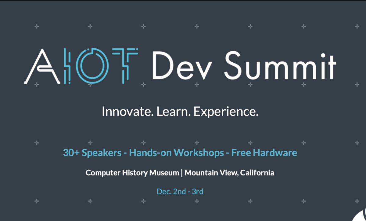 AIoT Event in Mt. View, CA December 2 and 3 - discount code
