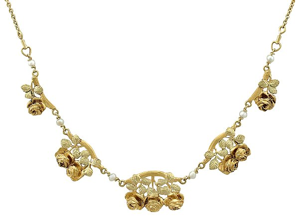 Two Tone 18 ct Yellow Gold & Pearl Necklace - Art Nouveau Style - Antique French Circa 1920